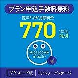 【申込手数料3,300円(税込)が不要】 BIGLOBEモバイル 格安SIM エントリーパッケージ