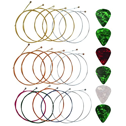 Yookat Acoustic Guitar Strings with 6 Picks, 3 Sets of 6 Acoustic Guitar Kit Guitar Strings Replacement Steel String For Beginners Performers