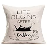 Fukeen Coffee Cups Throw Pillow Covers Life Begins After Coffee Classical Saying Words Letters Pillow Cases Cushion Cover Cotton Linen Black Sketch Set Pillowcase Standard 18'x18' Coffee Lovers Gifts
