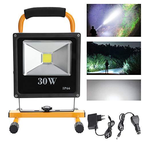 Hengda® 10W Blanco frío LED Foco Recargable Lámpara Camping Cargador y adaptador incluidos