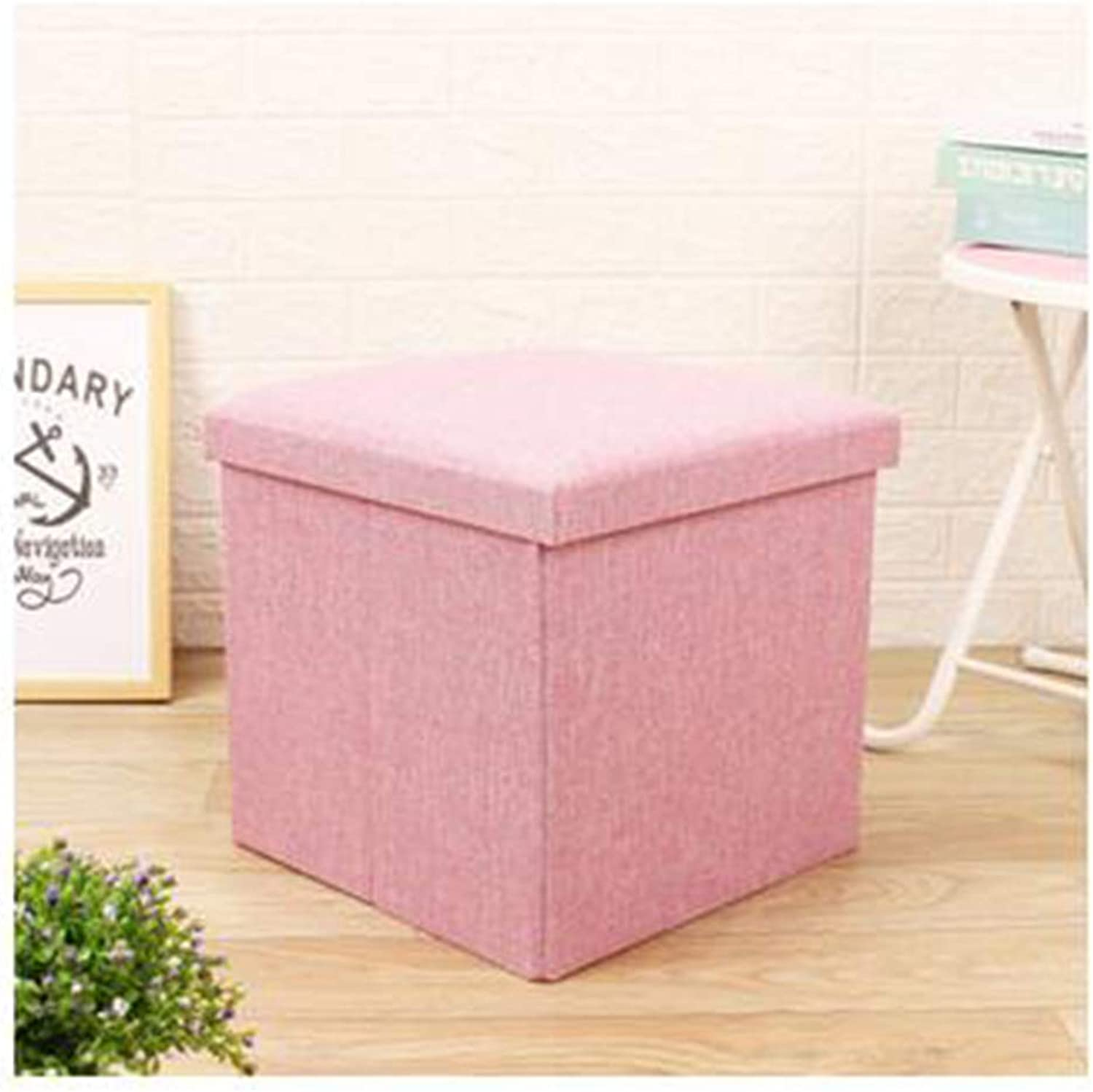 Storage Box Solid color Simple Cotton and Linen Large Storage Bench Square Bedroom Footstool Folding shoes Storage Storage Box,B