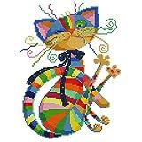 Cross Stitch Kits Cat, 12.6x16.5 Inch/32×42cm 11CT Colorful Stamped Printed Pattern Fabric Embroidery Starter Kits Cross Stitching Needlework (Frameless)
