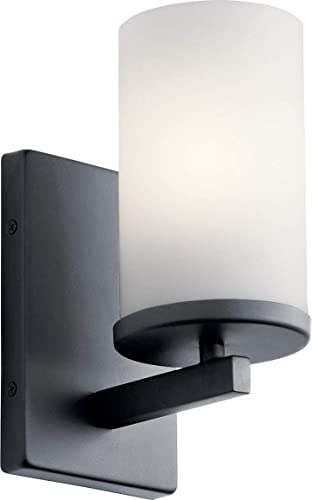 high quality Kichler 45495BK Crosby Wall Sconce, 1-Light sale 100 Watts, online Black online sale