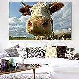 NIMCG Cute Bull Head Animal Poster and Print Wall Art Canvas Painting Cow Wall Living Room Decoración del hogar Pintura (Sin Marco) 30x45CM