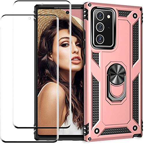 Compatible with Samsung Galaxy Note 20 Ultra Phone Case Cover with Screen Protector Kickstand Magnetic Metal Ring Holder PC Armor Case Shockproof Military Cover for Samsung Galaxy Note 20 Ultra Shell
