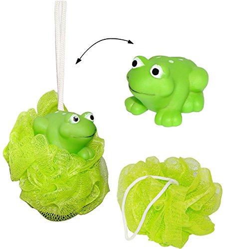 alles-meine.de GmbH 1 Stück _ 3-D Badeschwamm mit Tier -  grüner Frosch  - toller Schaum Effekt ! __ Badespielzeug - Baby / Kinder & Erwachsene - Badeknäul / Duschknaul - Badew..