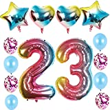 23 globos de aire con el número 23 cumpleaños para niñas, juego de arco iris XXL con número 23, globos de helio arcoíris para decoración de 23 cumpleaños para niñas