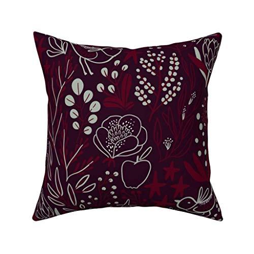 Houlipeng Cotton Throw Pillow Case Cushion Covers Burgundian Motifs Winter Elegant Flowers Berries 18 x 18 inches