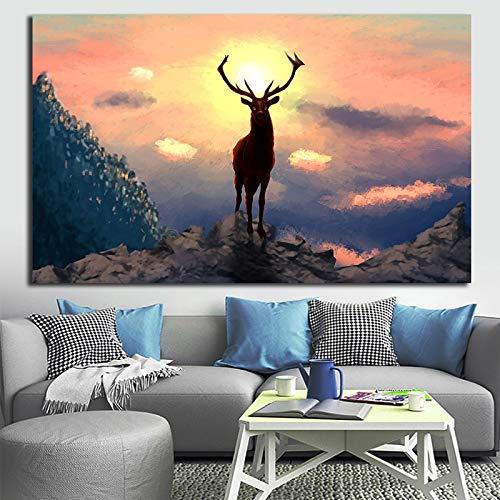 Wildtier Rentier Leinwand Malerei Wandkunst Wohnzimmer Sofa Poster Home Dekoration,Rahmenlose Malerei,60X90cm