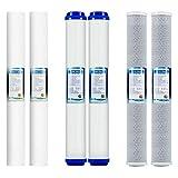 LZH FILTER 6 Pezzi Ricambio Filtri Carbone Attivo Granulare, Ricambi Filtri Acqua Sottotop per osmosi inversa, Whole House, Standard 50,8 cm