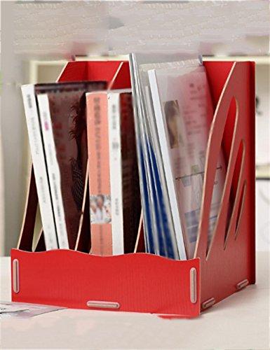 KKCF Rangement de Bureau en Bois Box Office Supplies Bureau de Finition Dossier Shelf dépenses familiales (Couleur : Rouge, Taille : 265 * 265 * 320mm)