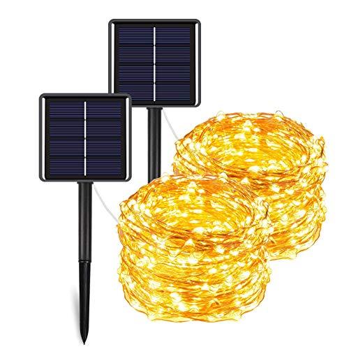 MeiGuiSha Solar Lichterkette Aussen 【2 Stück】12M 120 LED Lichterkette Außen Wasserdicht KupferDraht,gartendeko, Für Balkon, gartendeko, Bäume, Terrasse, Hochzeiten, Partys.