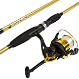 Wakeman Fishing Rod and Reel Combo, Spinning Reel Fishing Pole, Fishing Gear for Bass and Trout Fishing, Gold – Lake Fishing, Strike Series, 6.5 feet