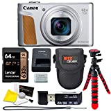 Canon PowerShot SX740 (Silver) Point and Shoot Camera, Lexar 64GB U3 Memory Card, Tripod, Case Bundle