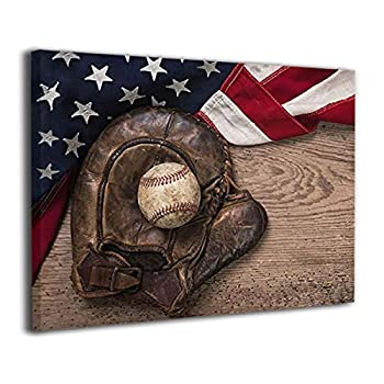 Vintage Baseball in Baseball Glove Rustic Sports Wall Picture American Flag Military Canvas Painting Motivational Poster For Office Living Room Decor Framed 12x16 Inch