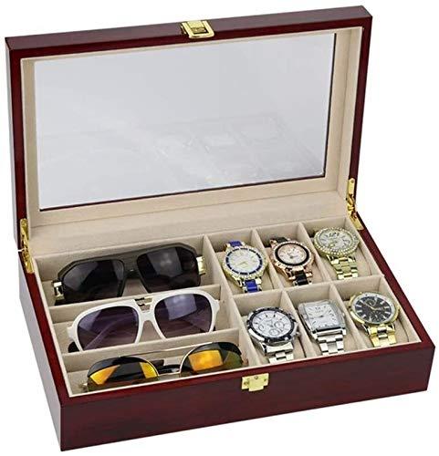 HLD Cajas para Relojes Reloj de Almacenamiento Caja de Almacenamiento Combinación de Cuero Artificial Joyería y Gafas de Gafas Caja de Almacenamiento de Caja de visualización (Color: Vino Rojo) Cajas