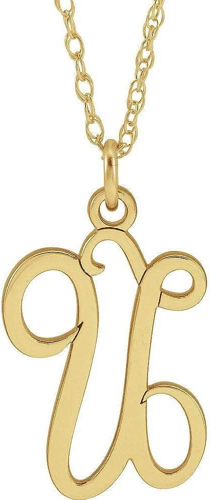 Script Alphabet Initial Letter U Charm Pendant Chain Necklace Adjustable 16