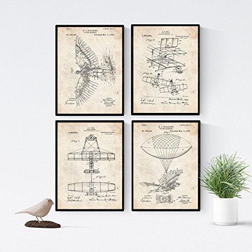Nacnic Vintage Flugzeuge Patent Poster 4-er Set. Vintage Stil Wanddekoration Abbildung von Luftfahrt und Flugmaschine. Verschiedene geometrische Alte Erfindungen Bilder ohne Rahmen. Größe A4.