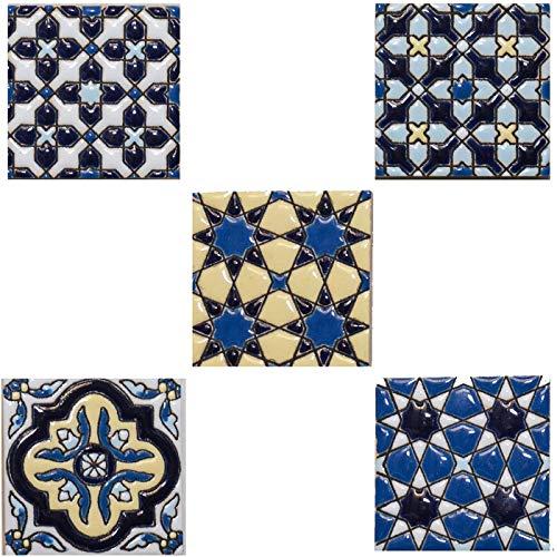 Magnete für Kühlschränke, Kühlschränke, Andalusien, Keramikfliesen, 5 Stück, 5,5 cm, originelle Geschenke oder Heimdekoration, Sockelleisten der Miniatur, blaue Serie