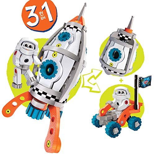 Bloco Toys 3 in 1 Galactic Mission   STEM Toy   Astronaut Spacecraft, Shuttle Rocket   DIY Building Construction Set (210 Pieces)
