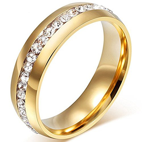 LEEYA NL19 Mens Womens 6MM Titanium Stainless Steel High Polished 18K Gold Plated Channel Set Cubic Zirconia CZ Promise Engagement Band Unisex Gold Wedding Ring Comfort Fit, Size 6-13 (6, Gold)
