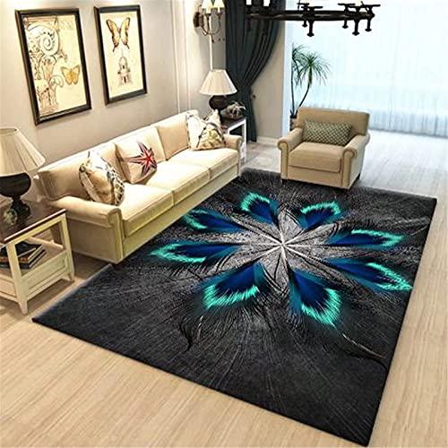 LBMTFFFFFF Alfombra alfombra para el hogar, salón, sofá, alfombra retro, dormitorio, cama de noche, diseño floral, atmósfera sencilla, suave y cómoda, E, 120 x 180 cm