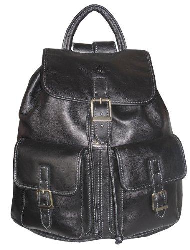 Katana Sac à dos femme en cuir noir 2 poches
