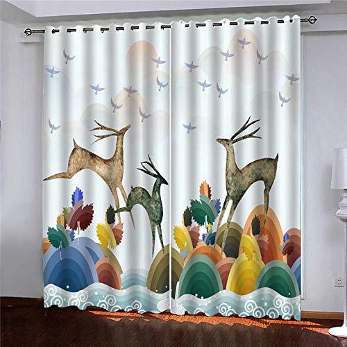 DRFQSK Cortinas Infantiles Impresión Digital Animal De Alce Abstracto 3D Cortinas Opacas Termicas Aislantes Cortinas Dormitorio Moderno con Ollaos, 2 Paneles 300 X 270 Cm(An X Al)