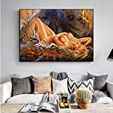GZCJHP Cuadro sobre lienzo de 60 x 90 cm, sin marco, moderno, abstracto, desnudo, arte de pared, arte corporal, decoración