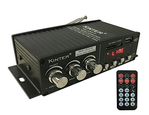 Kinter MA120+ 2-Channel Auto Home Cycle Mini Digital Amplifier USB/MP3/FM Amplifier with Remote Control and Extension Cable with 12V 3A Power Supply Black