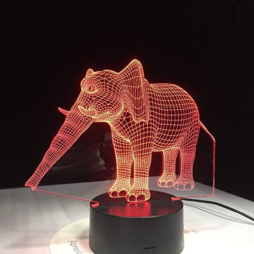 Colorful Three-Dimensional Color-Changing Elephant LED Children's Friend's Elegance Like Home Office Decoration | Small LED Desk lamp, Smart Touch Light