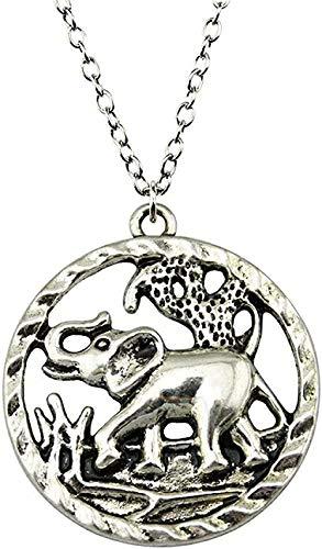 huangshuhua Collar Elefante Colgante Collar 44X39Mm Color Bronce Antiguo Collar de Plata Antigua Cadena Accesorios Vintage