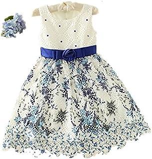 子供ワンピース ドレス ひざ丈 ブルー フォーマル 女の子 ジュニア ピアノ発表会 パーティー 結婚式 七五三 100-150CM
