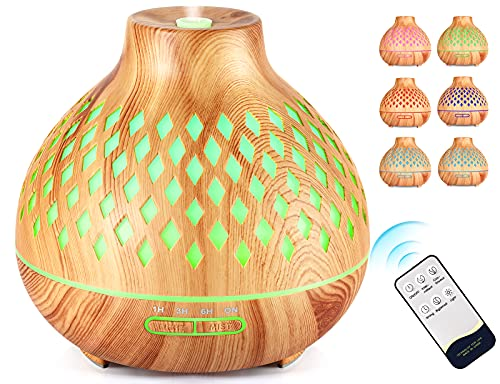 yumcute Humidificador ultrasónico 400 ml, Silencio, Difusor de Aroma Silencioso con Función de control remoto y Lámpara de Siete Colores y Apagado Automático sin Agua, para Hogar, Yoga, SPA