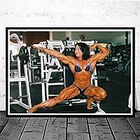 チャンピオンボディービル女性写真プリントジム装飾フィットネスポスターホーム壁装飾筋肉トレーニングインスピレーションジム壁アートパネル50x70cmフレームなし