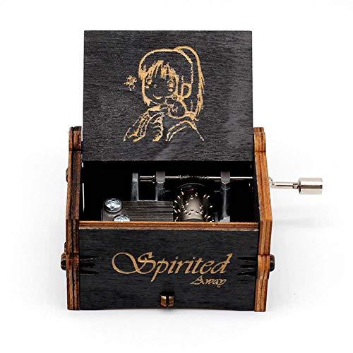 Goodangie00 Hölzerne Spieluhr Holz Handkurbel Graviert Musikbox Vintage Hochzeit Valentinstag Weihnachten Geburtstagsgeschenk - Spirited Away