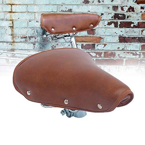 Sillín de bicicleta para sillín de bicicleta, resistente al desgaste, asiento de piel sintética, color marrón, estilo vintage, suave y transpirable, marrón