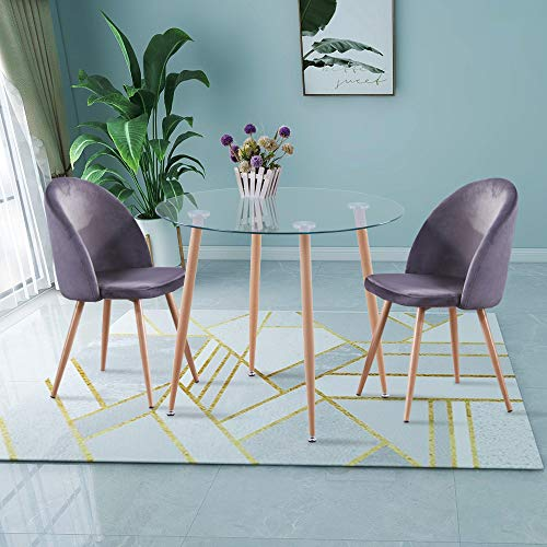 GOLDFAN Small Round Dining Table and 2 Chairs Modern Glass Kitchen Table and Velvet Dining Chairs Kitchen Dining Table Set,Grey