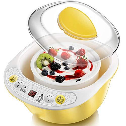 WLGQ Tragbarer Haushalts-Mini-Joghurt-Automat, hausgemachter Reis und Natto, Keramik-Innenseite mit süß-saurer Selbstkontrolle, gelb