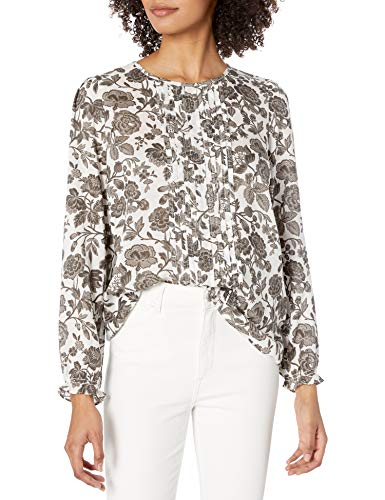 Lucky Brand Women's Long Sleeve Scoop Neck Floral Lea Pintuck Blouse, Grey Multi, Large