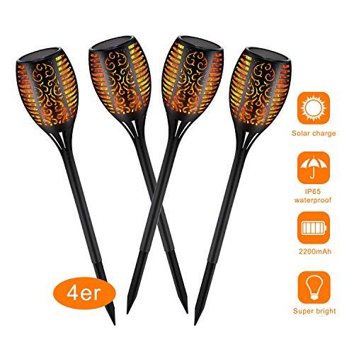 4x Lumières Solaire Flammes, lampe flamme solaire étanches à 96 LED avec de Effet Flamme,pour Décor, Jardin, Patio, cour extérieure