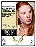 Mascarilla Facial ILUMINADORA e HIDRATANTE con Vitamina C Pura y Ácido Hialurónico- Tejido 100% Biodegradable - IROHA NATURE