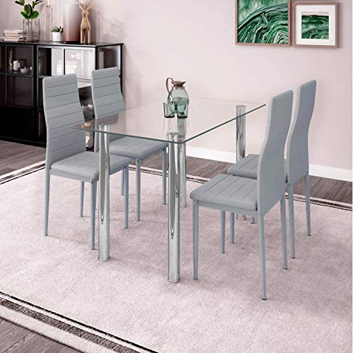 Modern Glass Dining Room Table and Chairs Set of 4 for Small Space, 5pcs Kitchen Clear Glass Table Set with 4 Grey Leather Chairs for Dinette Apartment Restaurant Space-saving