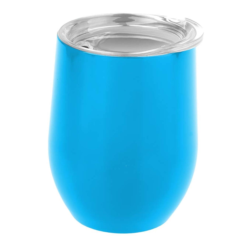 投げる読者教えてToygogo 液体飲料水コーヒーワイン屋外キャンプハイキングのための9オンス二重絶縁ステムレスガラスステンレスタンブラーカップ - 水色
