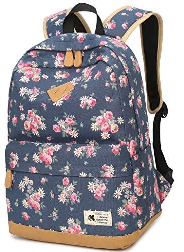 Geek-M Blumen Rucksack Mode Floral Schulrucksack Daypacks für Mädchen Schule Reiserucksack (Blau)