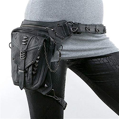 Riñonera de Mujer Riñoneras góticas Bolso de Pierna de Cadera de Motocicleta Bolso de Hombro de pistolera Steampunk Hombres Bolsos de Cuero de PU (Color : Black)