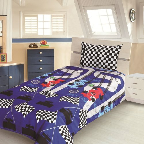Children's Kids COT BED SIZE RACING CAR DESIGN BOYS DUVET COVER AND PILLOWCASE SET By Viceroybedding