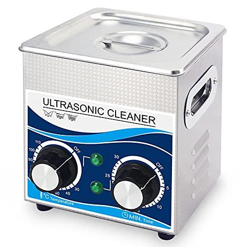 ZZX Limpiador Ultrasónico con Calentador y Temporizador, Máquina Ultrasónica Industrial 60W 2L para Joyería Profesional, Reloj, Limpieza de Gafas, Acero Inoxidable