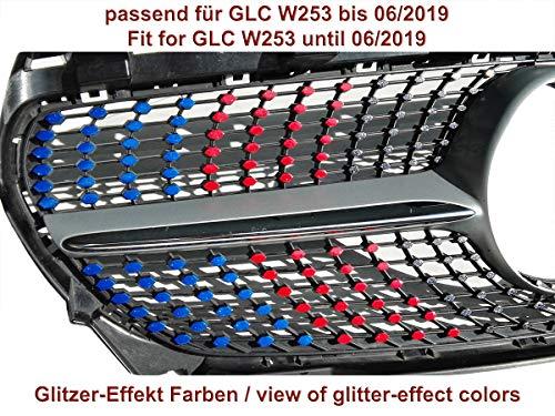 Diamantgrill Folien Sticker für Mercedes GLC W253 Vor-Facelift Coupe SUV AMG Grillaufkleber (Glitzer Blau)
