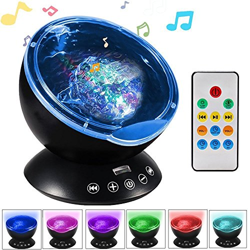 iHomy Ocean Projector for Baby, Remote Control 12 LED &7 Colors Night Lighting Light with Built-in Mini Music Player for Living Room and Bedroom